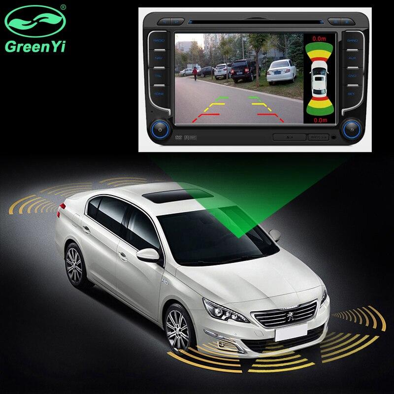 Podwójny kanał wideo samochodowe czujnik parkowania czujnik przedni tył 8 czujników 2 wejście kamery wideo do monitora samochodowego Android odtwarzacz DVD
