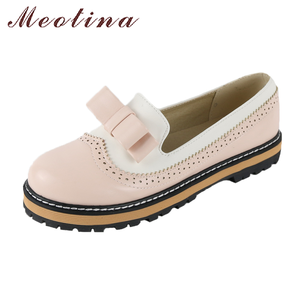 Meotina Women Shoes Spring Platform Flats Slip On Bow Brogue Shoes Cutout Sewing Loafer Round Toe 2018 Flats Pink Big Size 43 pink shoulder cutout