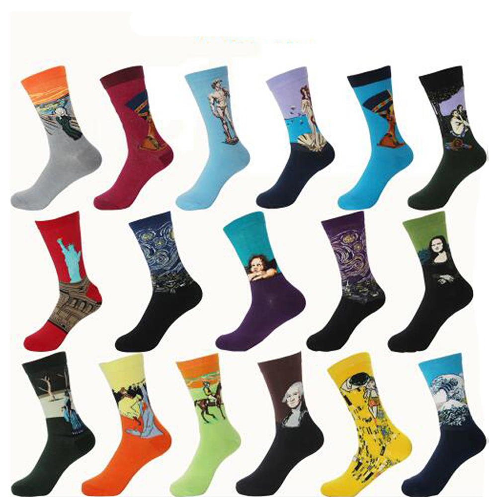 Hot Autumn Winter Retro Women Personality Art Van Gogh Mural World Famous Painting Male Socks Oil Funny Happy Sport Socks
