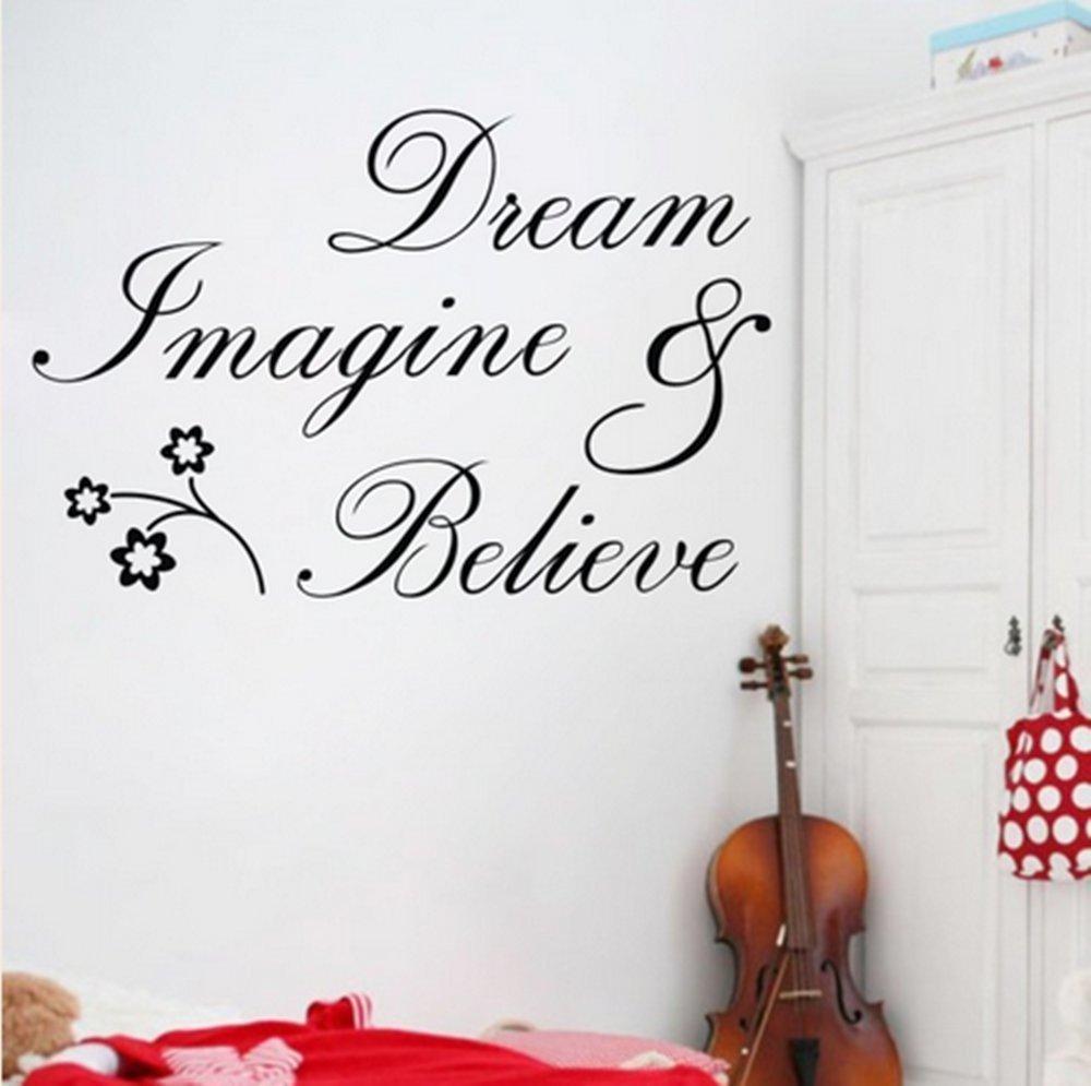 Home Dream Imagine Believe Quote Wall Sticker art Decal ...