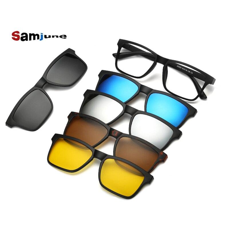 5 lenes imán gafas de sol Clip espejo Clip en gafas de sol clip en gafas hombres polarizados Clips personalizados prescripción miopía