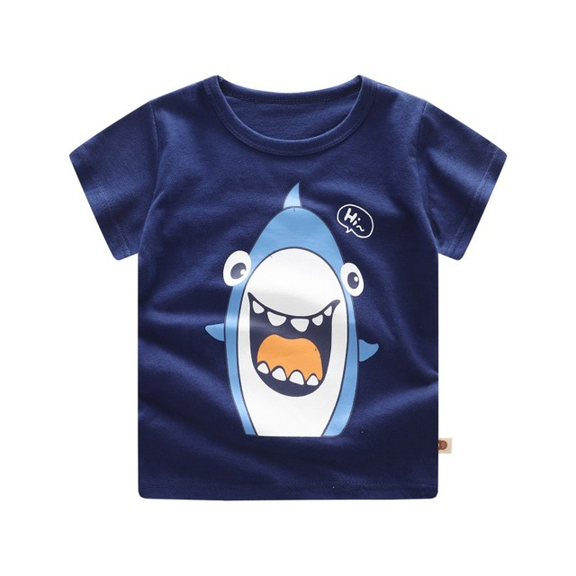 c0dd5bf4a Cute Summer Toddler Kids Candy Color Tees Cartoon Cotton Baby Boys ...