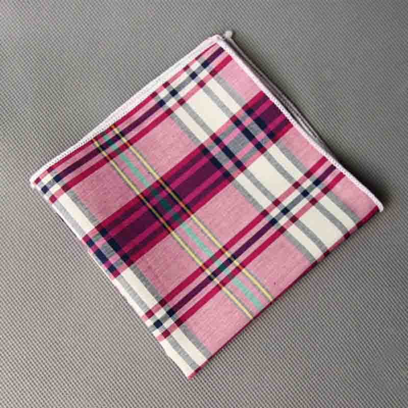 Mantieqingway Fashion Casual Plaid & Striped Handkerchief Men Formal Wear Business Suit Pocket Square Handkerchiefs Cotton Hanky