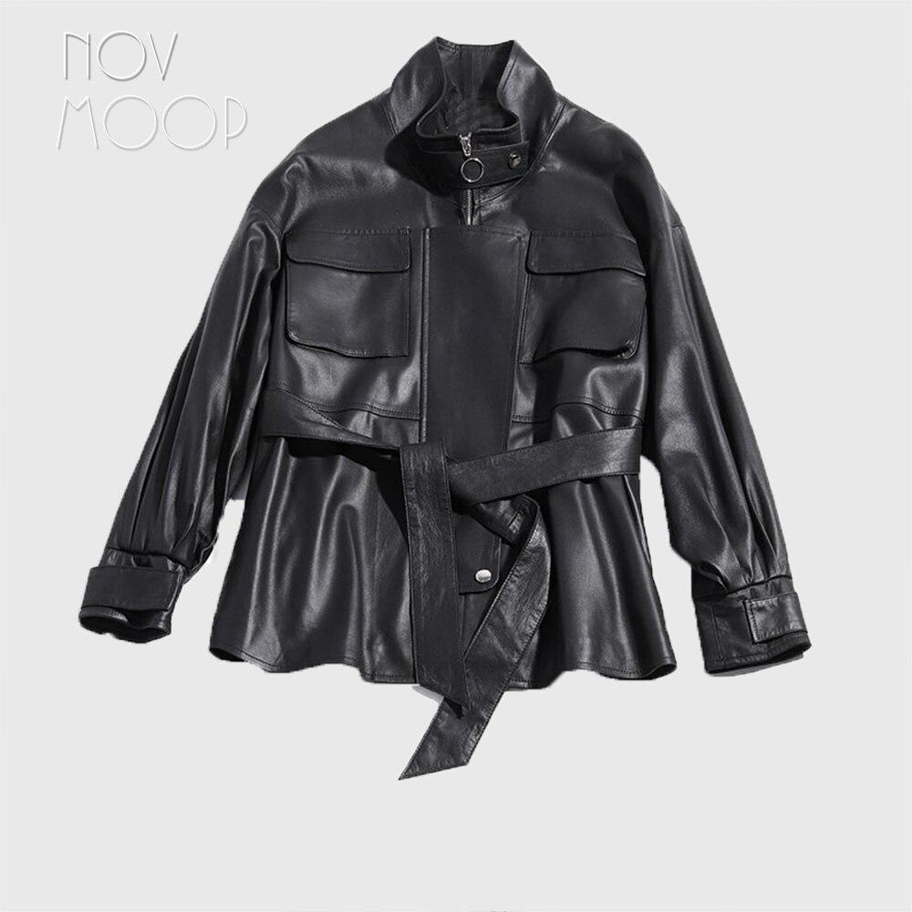 Chaqueta de piel de cordero de calidad superior de cuero genuino negro con bolsillos de parche frontal casaco ropa LT2484 estilo coreano-in Cuero y ante from Ropa de mujer    1