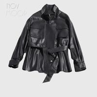 Korean style windbreaker women black genuine leather top grade lambskin coats jackets front patch pockets casaco ropa LT2484