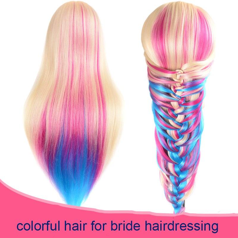 24 100% Haute Température Fiber De Cheveux Longs Coiffure Formation Chef Modèle avec Clamp Stand Pratique Salon Poupée Mannequin Tête