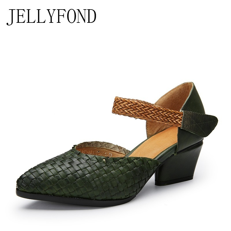 JELLYFOND Genuine Leather Knitted Women Vintage Pumps Handmade Cowhide Pointed Toe Chunky High Heels Gladiator Shoes Woman 2017 genuine leather women pumps cut out lace up chunky heels handmade vintage women shoes