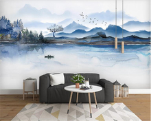 beibehang Custom fashion classic decorative painting three-dimensional wall paper new Chinese ink landscape background wallpaper