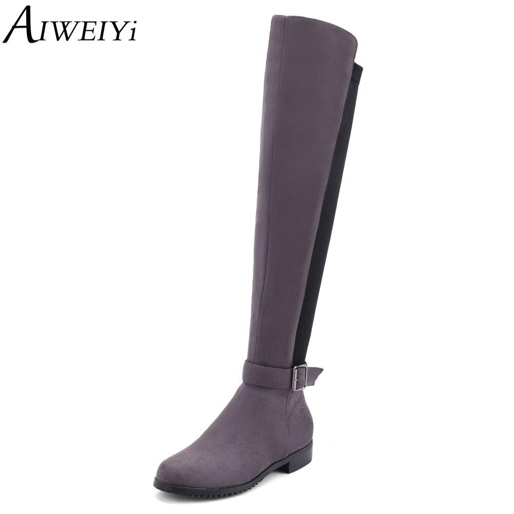 AIWEIYi nouvelle mode sur les bottes au genou pour les femmes troupeau bout rond talons épais cuissardes bottes chaussures en tissu extensible femme