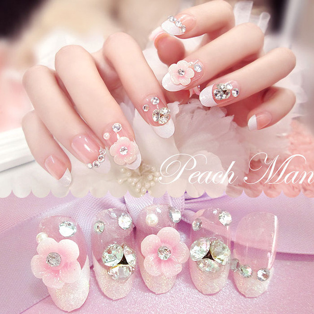 2016 New Nail Art 3D False Nails Rhinestone Fake Pearl Glitter Full Cover Square With