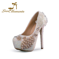 Love Moments Glittering Crystal wedding shoes bride rhinestone peacock handmade pupms White AB Color Ceremony Prom Pumps