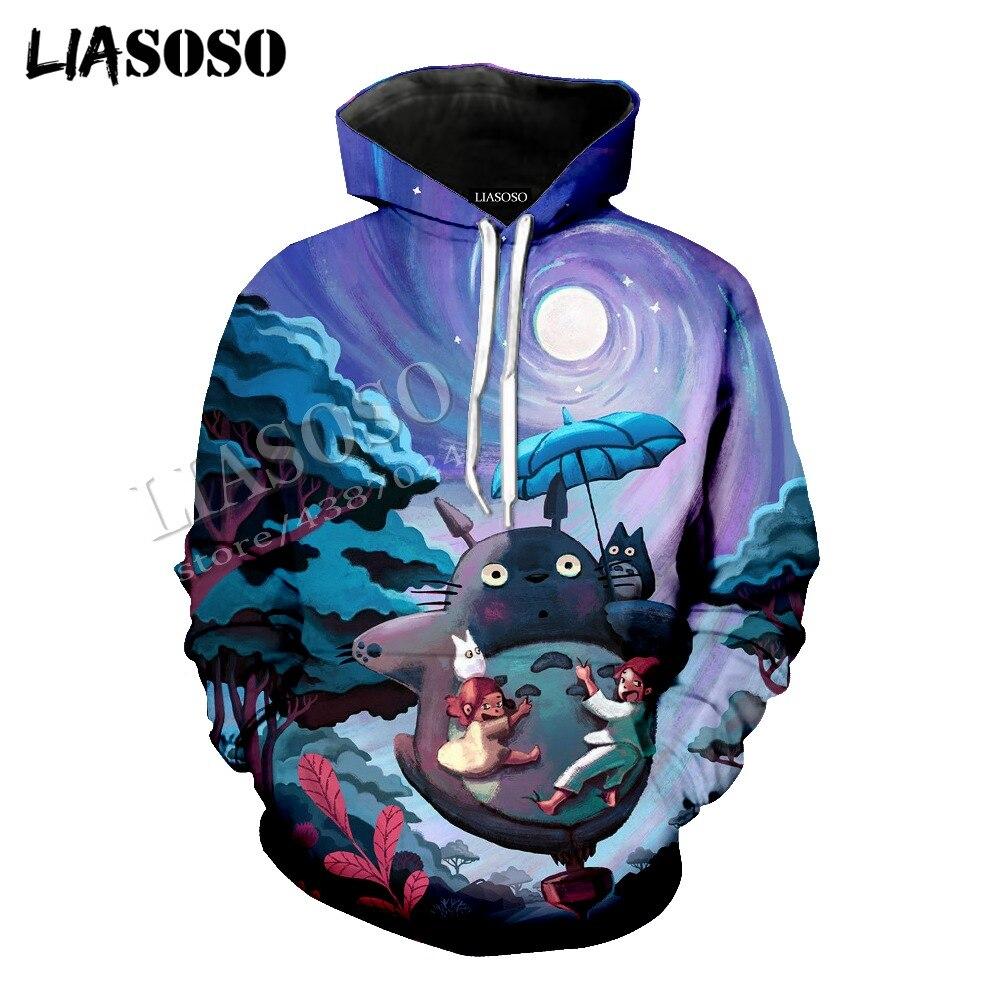 LIASOSO latest 3D printing Cozy polyester zipper hoodie Japanese anime Miyazaki Totoro Chinchilla man woman sportswear CX398