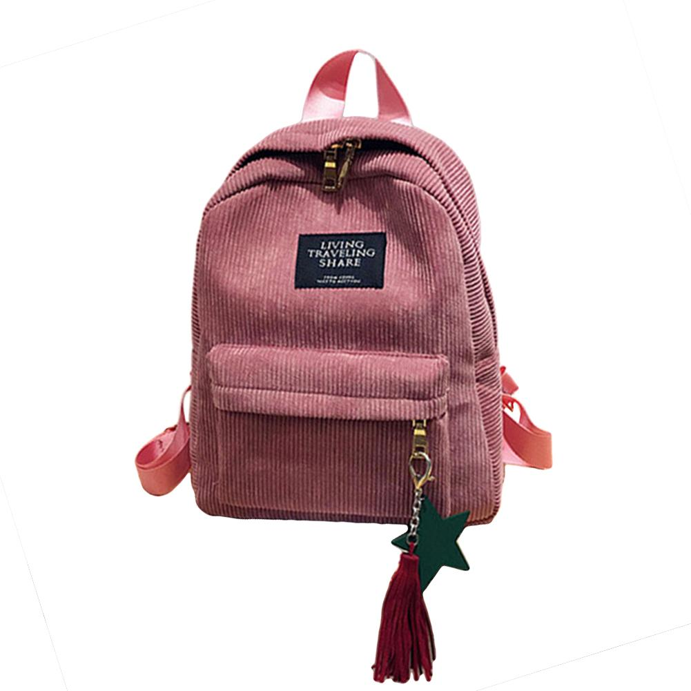 Fashion Women Girls Large Capacity Corduroy Backpack Star Tassel Travel Bags