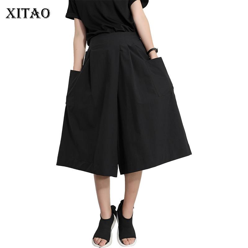 [XITAO] 2019 New Europe Casual Loose Solid Color Calf-length   Pants   Elastic Waist Fashion Women Summer   Wide     Leg     Pants   WBB3467
