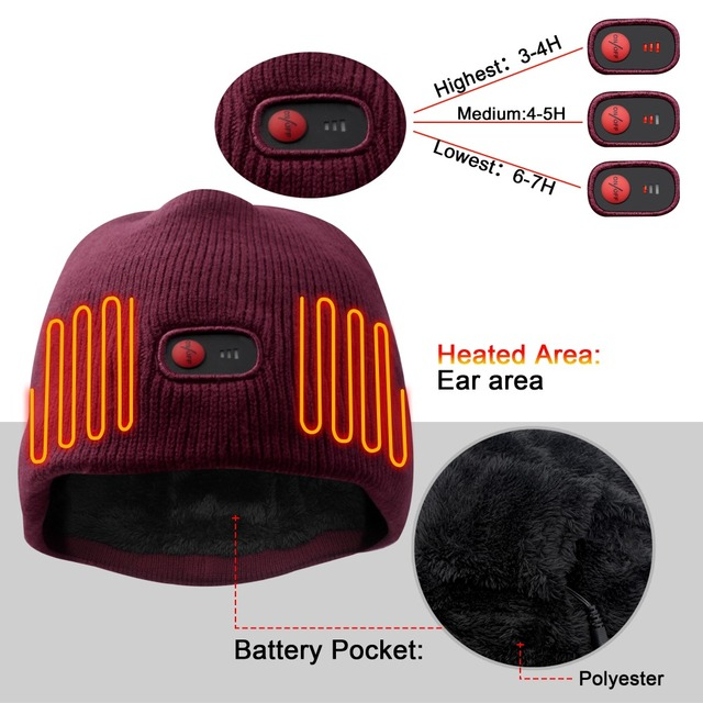 7.4V battery heated caps keep warm winter outdoor sports quick heating head warmer 3 levels control women Red 2018 1