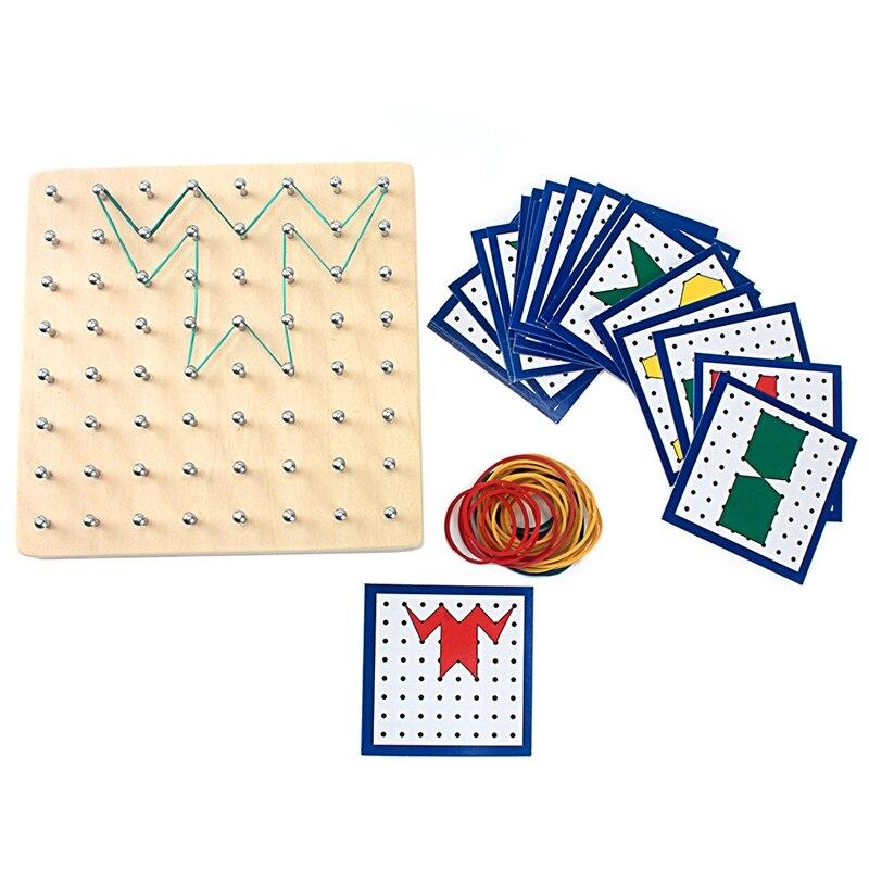 Montessori gráficos criativos de madeira placa de unhas de ferro de borracha com cartões formas e cores práticas habilidades de vida pré-escolar crianças 2-4