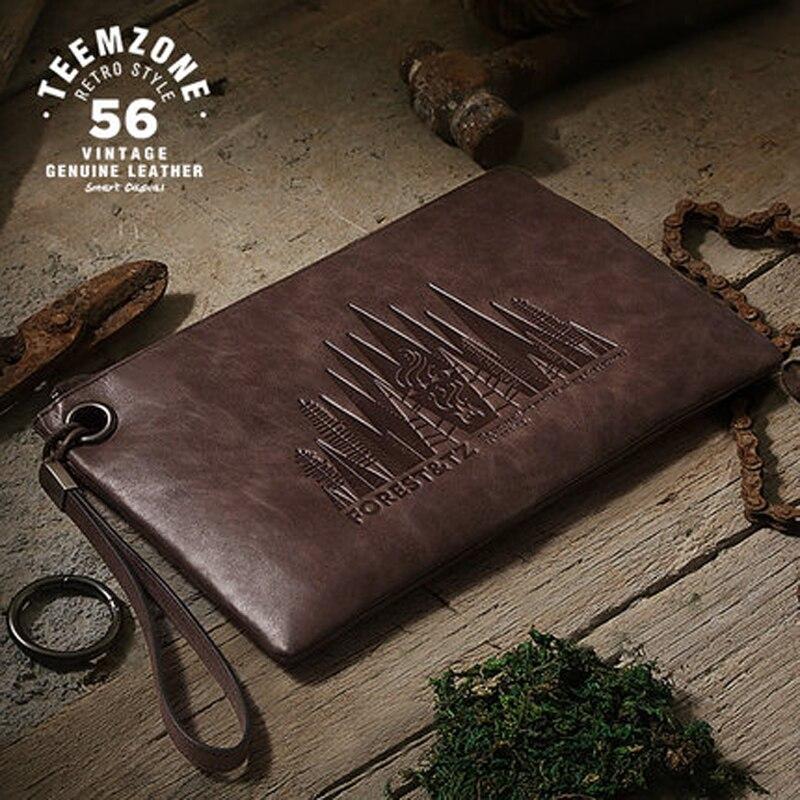 Men Clutches Envelope Bag Long Wallet Leather Genuine Card Holder Purses Handbags High-capacity Wrist Bag Zipper J45