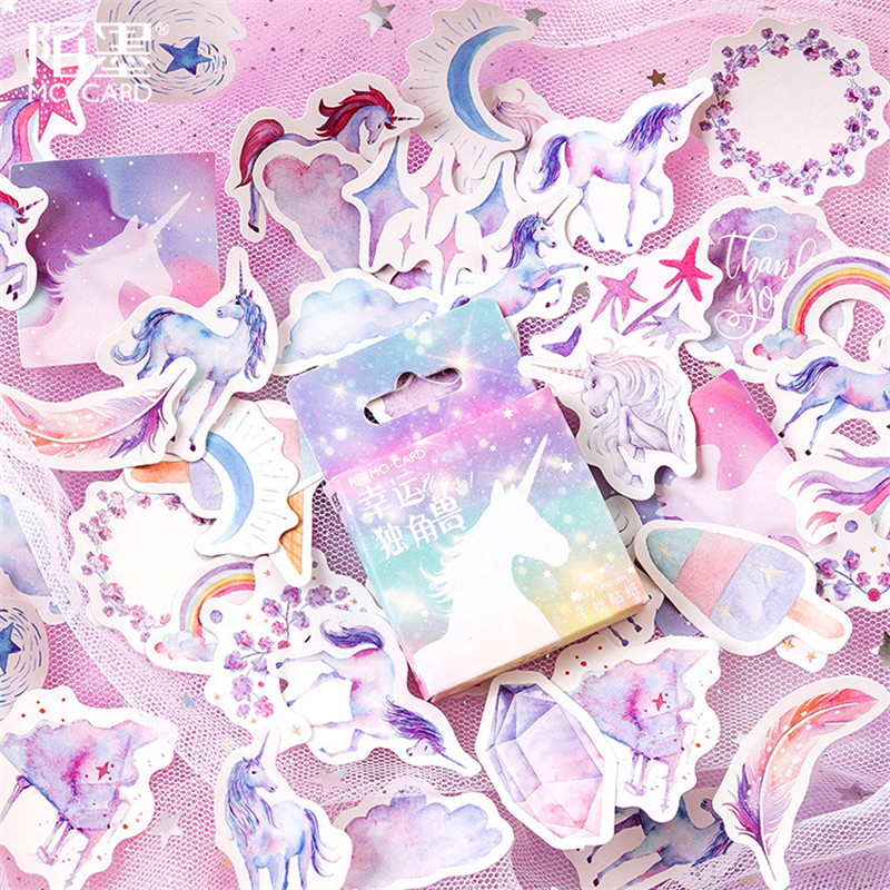 LOLEDE 45pcs/pack Kawaii Stationery Stickers cute Unicorn pattern scrapbooking