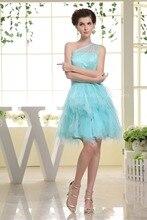 Cocktail Länge Perlen Satin Tüll Kleid Eine Schulter Kurzes Partei-kleid Für Jugendliche Kundengebundene Größe