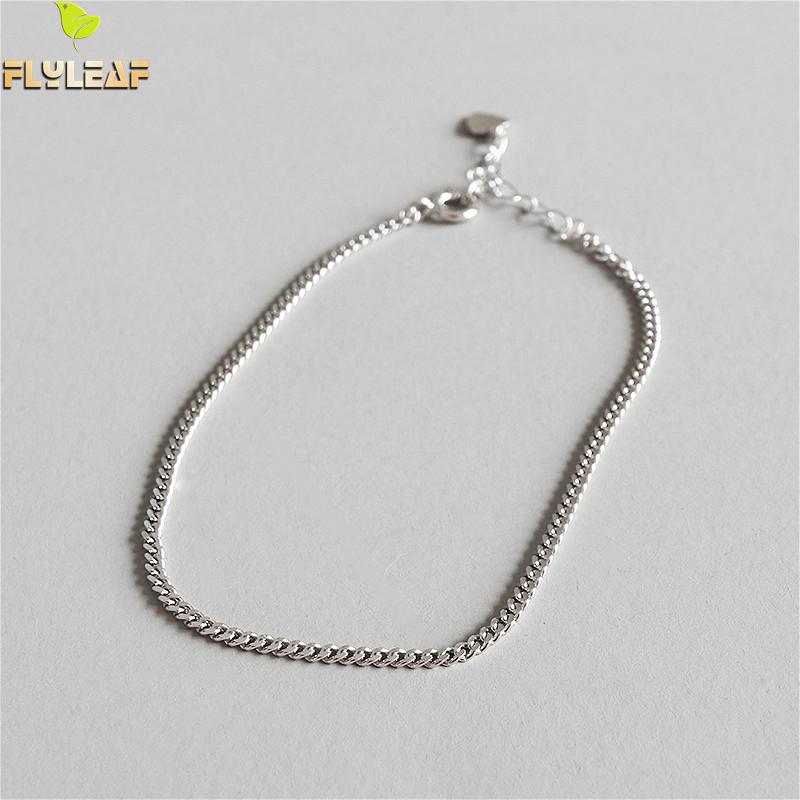 Flyleaf 925 Sterling Silver Simple Chain Anklets For Women Personality Girl Ankle Leg Fine Jewelry Enkelbandje High Quality Gift