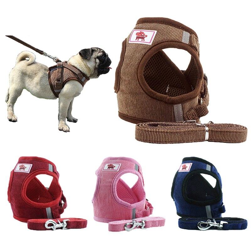 Dog Harness Leash Set Adjustable Breathable Dog Cat Collar Vest Harness for Dog Puppy font b