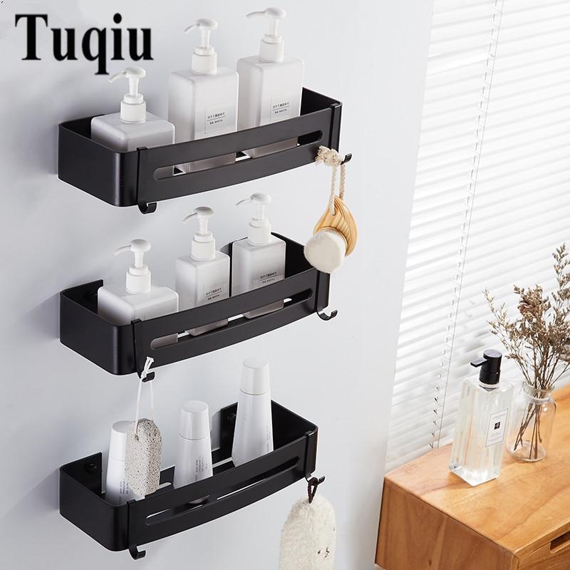 Kitchen Wall Mounted Storage Rack Shampoo Holder Organizer Bathroom Shelf