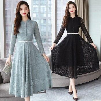 2020 otoño invierno nuevo 3XL de talla grande Encaje Vintage Midi Vestidos mujeres Bodycon coreano negro Sexy vestido de pista de manga larga Vestidos
