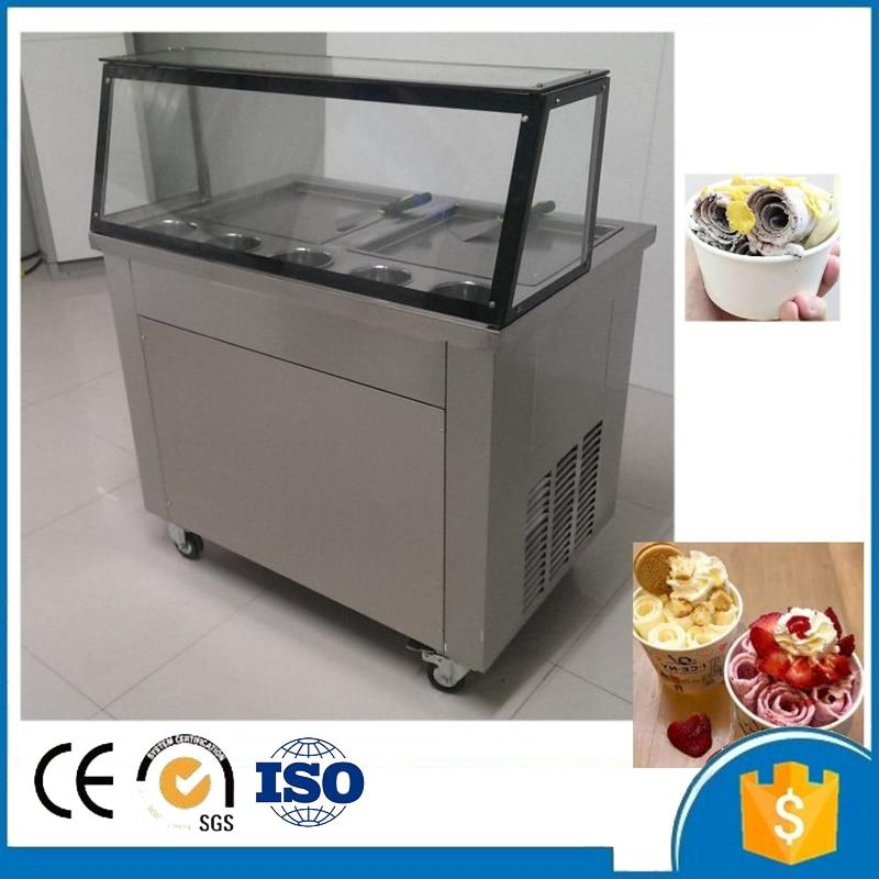 フリー船ce r410稚魚アイスクリームマシン揚げ氷ロールパン機フラットパンダブルパン圧延揚げアイスクリームロールスロイスマシン|cream machine|ice cream machinefry ice cream machine -