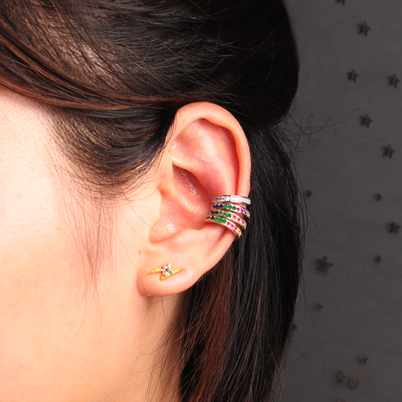 Fashion Ear Cuff Micro Pave CZ Zircon Round Ear Clip Silver Color No Pierced Small Sized Earring Cuff For Women Girls