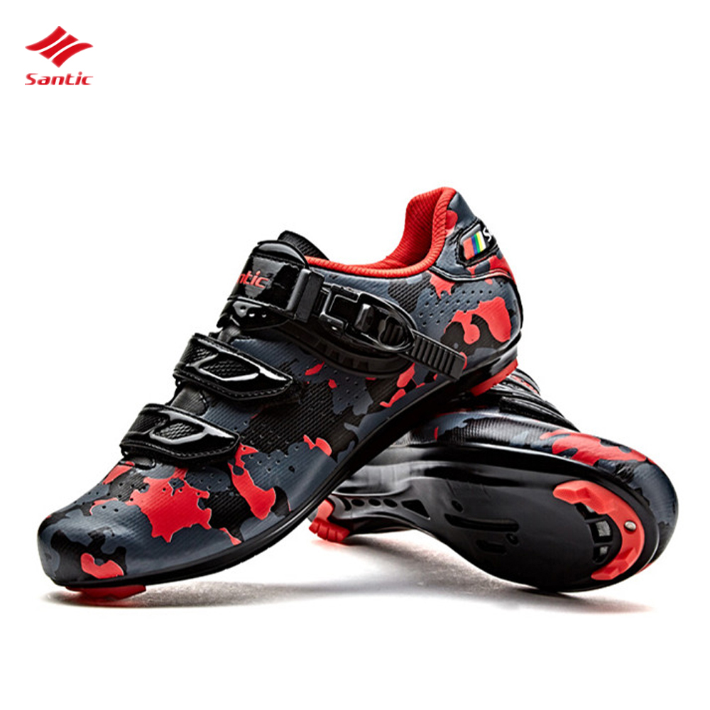 Santic Bicycle lock Shoes Men Road Cycling Shoes Carbon Fiber Cycling Racing Team Breathable Cycling Sneaker Cycling Accessories santic men cycling road shoes black