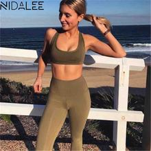 ФОТО NIDALEE Women Fitness Yoga Set Gym Sport Suit Breathable Quick Dry Workout Clothes Tracksuit Dance Fitness Running Sportwear