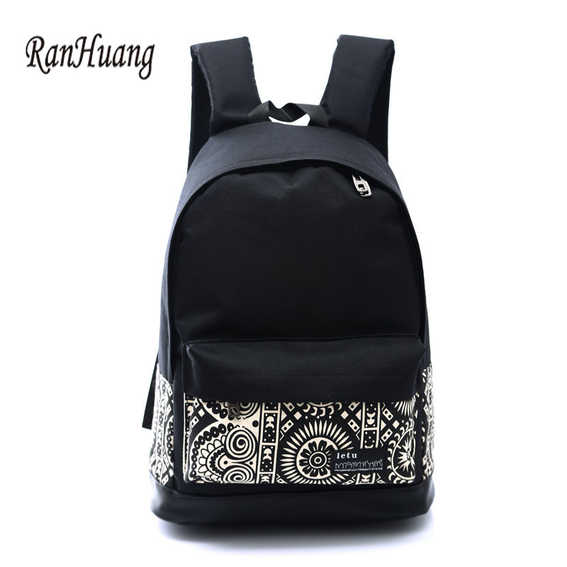 RanHuang 2017 Women Canvas Backpack Printing Laptop Backpack School Bags For Teenagers Girls Mochila Feminina Book Bolso A073 canvas printing backpack women school bags for teenagers girls backpacks ladies bolsas mochila feminina black color