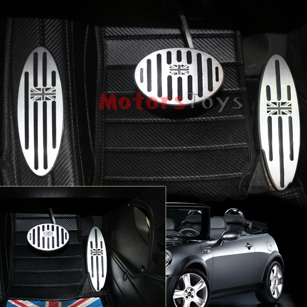 Mini cooper rubber floor mats uk - 3pc Set Black Uk Flag At Auto Aluminum Pedal Gas Brake Footrest For Mini Cooper