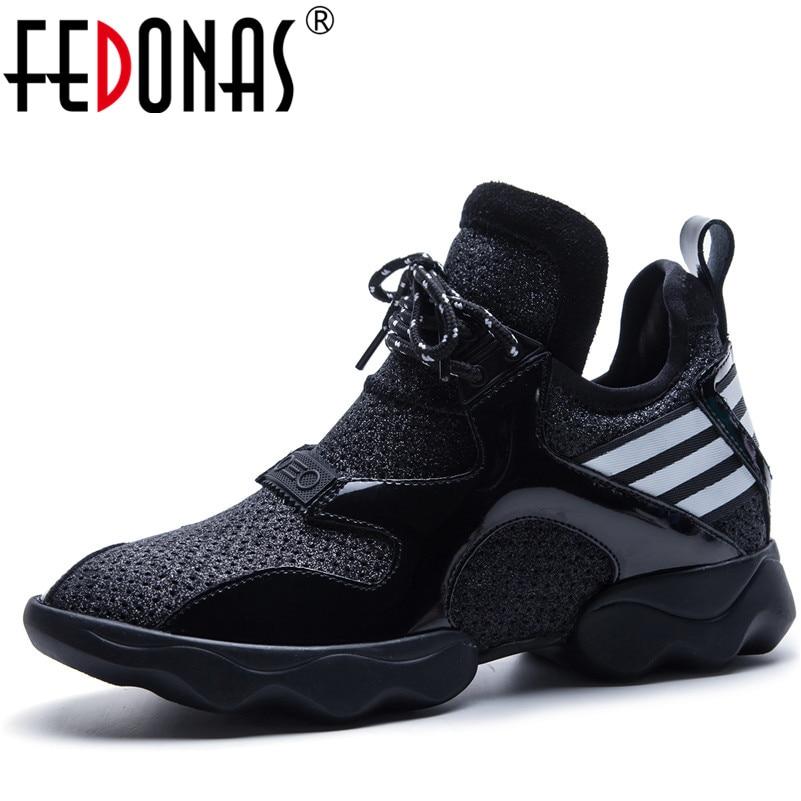 FEDONAS New 2020 Fashion Design Brand Women Genuine Leather Mesh Casual Shoes Platforms Flats Platforms Female