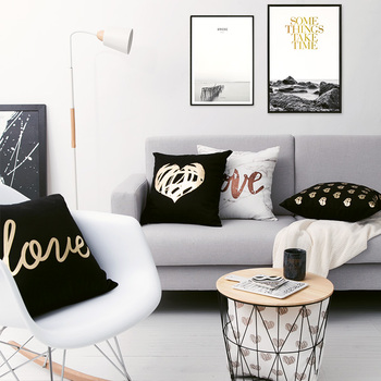 Black Golden Leaves Cushion Brozing Gold Foil Cushion Decorative Pillows Home Decor Throw Pillow Almofadas Decorativas Para Sofa