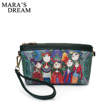 Mara's Dream Mini Cartoon Print Women Clutch Bag High Quality PU Leather Wallets Lady Colorful Small Zipper Cluth Flap Bag Girl фото