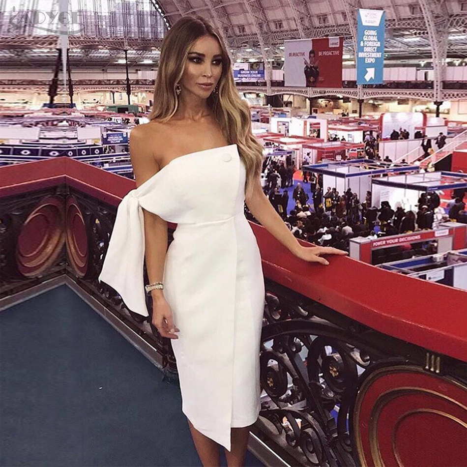 CUERLY 2019 Summer Women Irregular Strapless Dress Casual One Shoulder Tied Button Elegant Tassels Celebrity Runway Party Dress in Dresses from Women 39 s Clothing