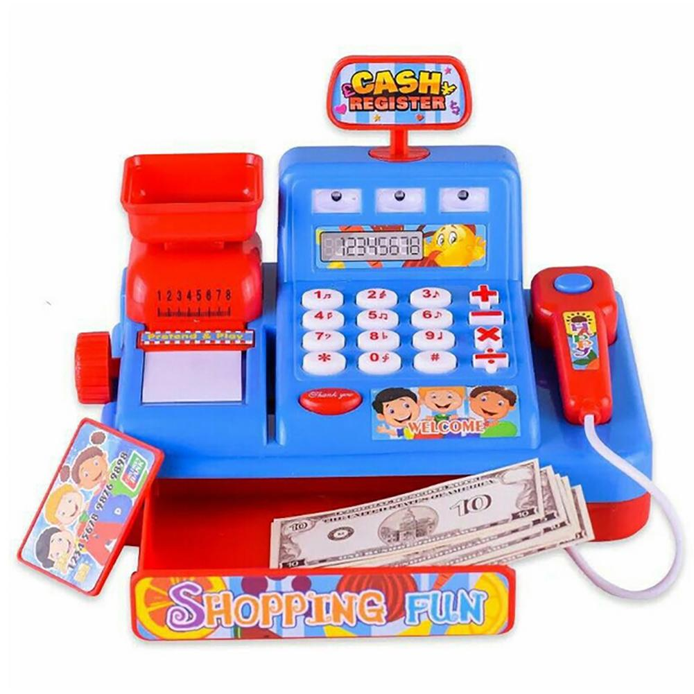 Child Simulated Music Light Market Cash Register Kids Role Play Puzzle Toy Gift Pretend Play Early Educational Toys