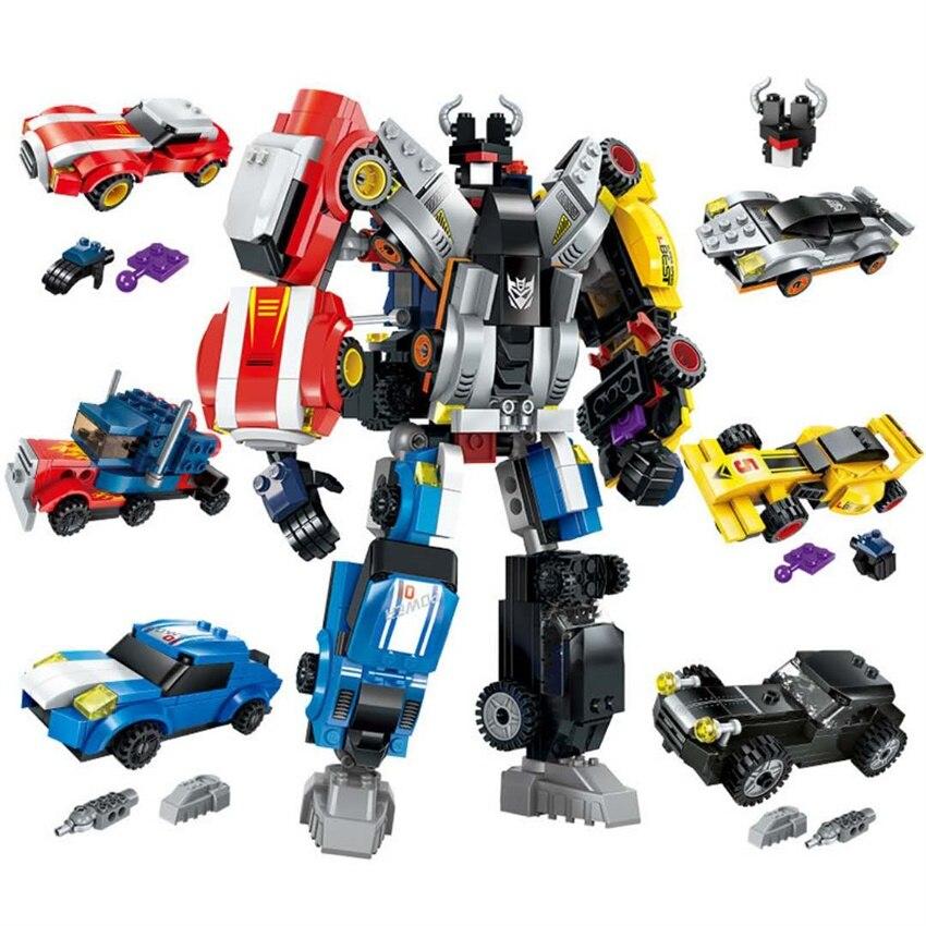 Bricolage blocs de construction assemblage Robot Transformation série garçon jouets véhicule Sport voiture déformation Fit, métamorphique 6 en 1