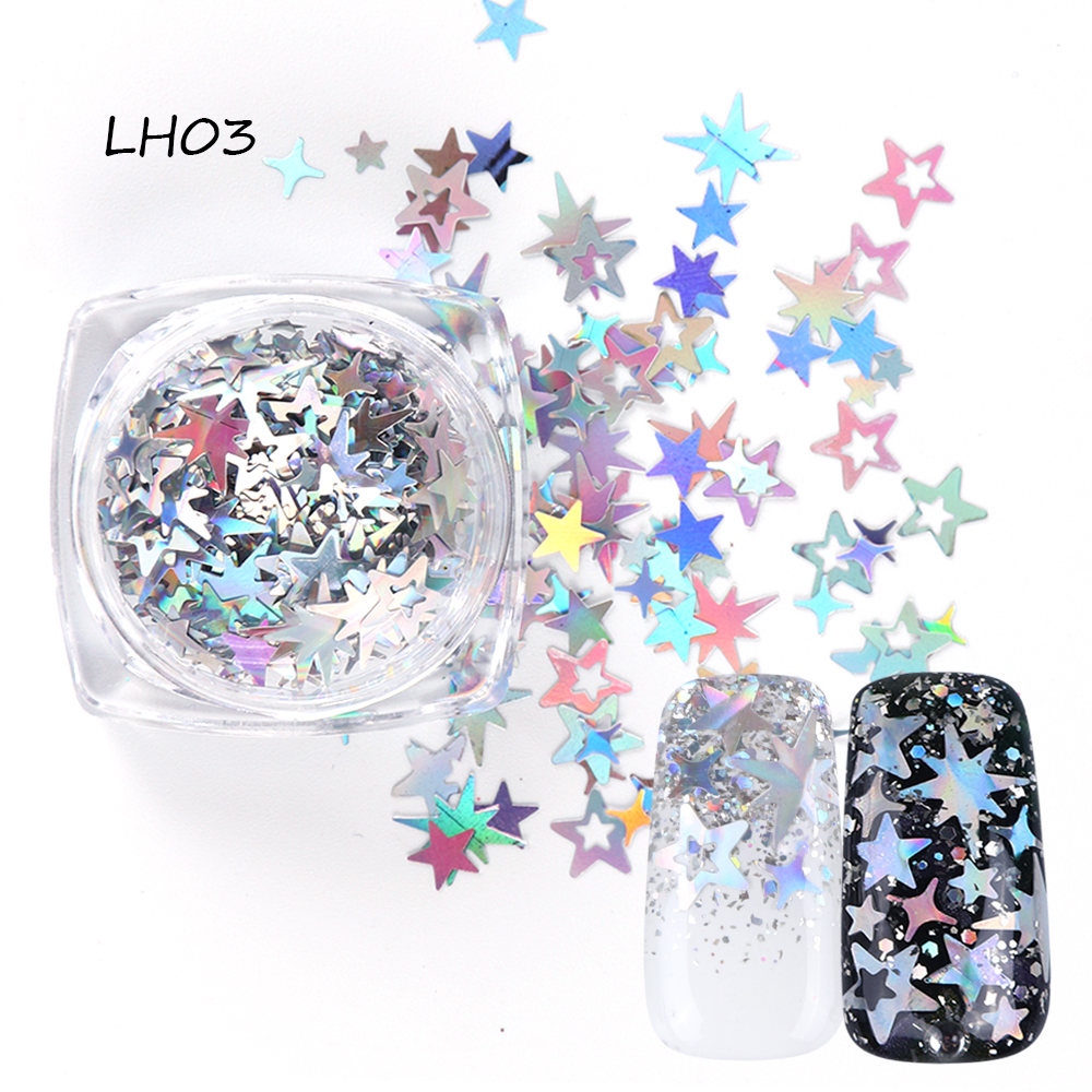1 Bottle Mixed Laser Colorful Sequins Nail Glitter Thin Metal Hexagon Star Heart Flakes Nail art Manicure Decor LALH01-04 (4)