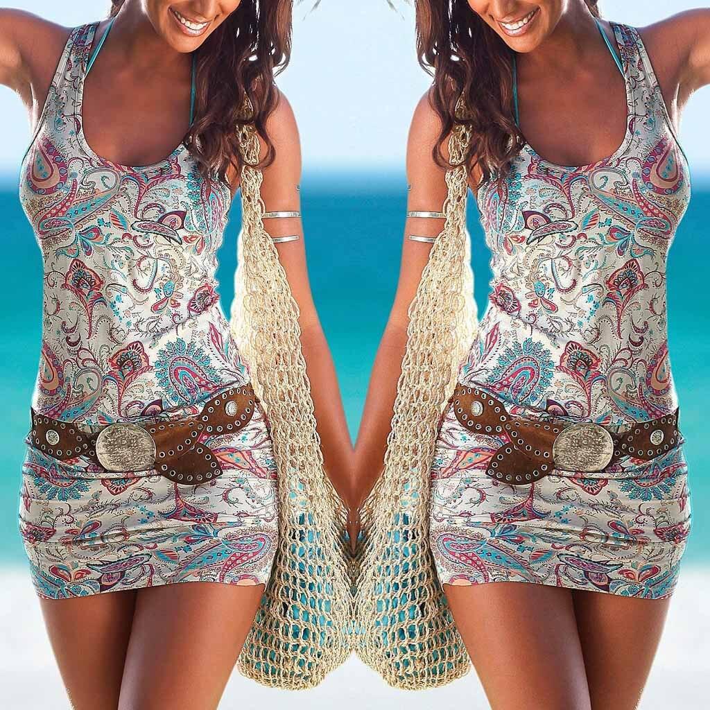 2019 Women Summer Dress Boho Style Floral Print Beach Dress Tunic Sundress Loose Mini Party Dress Vestido Navidad Mujer W0619
