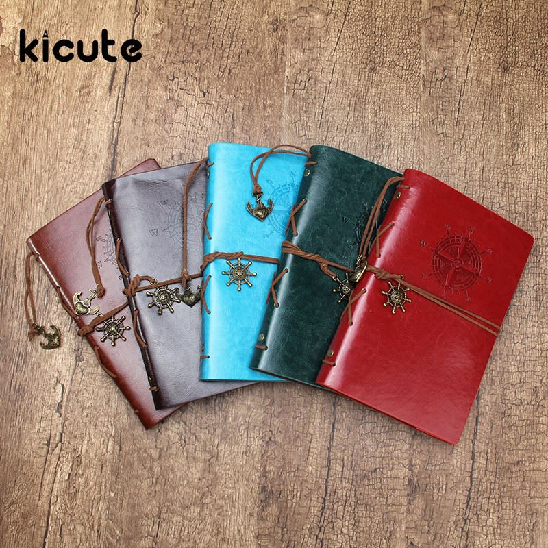 Kicute Classical Scrapbook Leather Cover Travel Notebook Journal Diary Blank Kraft Paper A5 Spiral String Nautical 6 Ring Binder 2017 string nautical vintage notebook travel journal diary kraft paper blank sketchbook a6 ring binder note book caderno