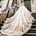 Роскошный длинный Шлейф Бальное платье вечернее Платье 2016 Старинные Кружева С Длинным Рукавом Vestido Де Noiva 2015 Sexy вечерние Платья