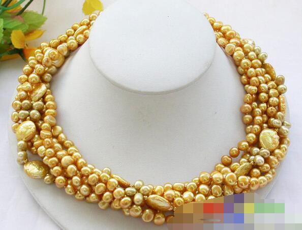 Chanson voge bijou nanJ0933 5row jaune baroque riz pièce d'eau douce collier de perles de conception