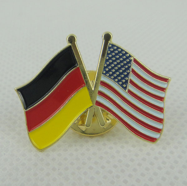 Germany&USA Flag Pin/Lapel Pin 25.4mm Made by Iron with Brass Plate & Butterfly Button Accept Custom and MOQ100pcs Free Shipping