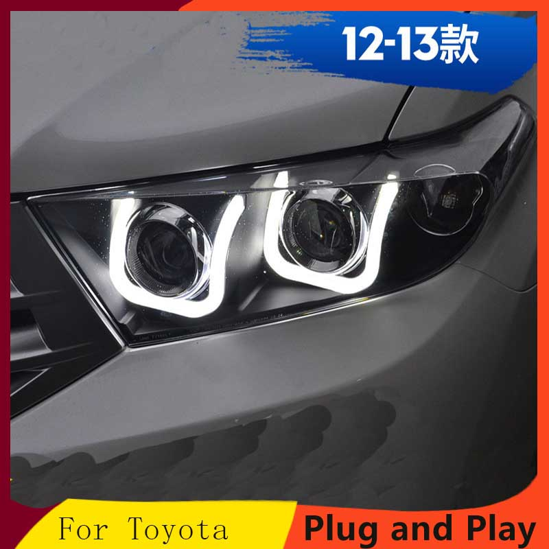 Applicable to 12 13 Highlander Double lens U shaped led daytime running light Xenon headlight assembly