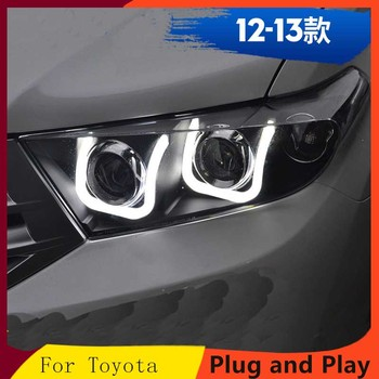 Applicable to 12-13 Highlander Double lens U-shaped led daytime running light Xenon headlight assembly