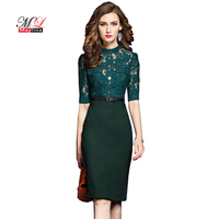 Maylina Women Spring Autumn Work Dress Patchwork Lace Business Party Dresses Formal Office Plus Size Bodycon