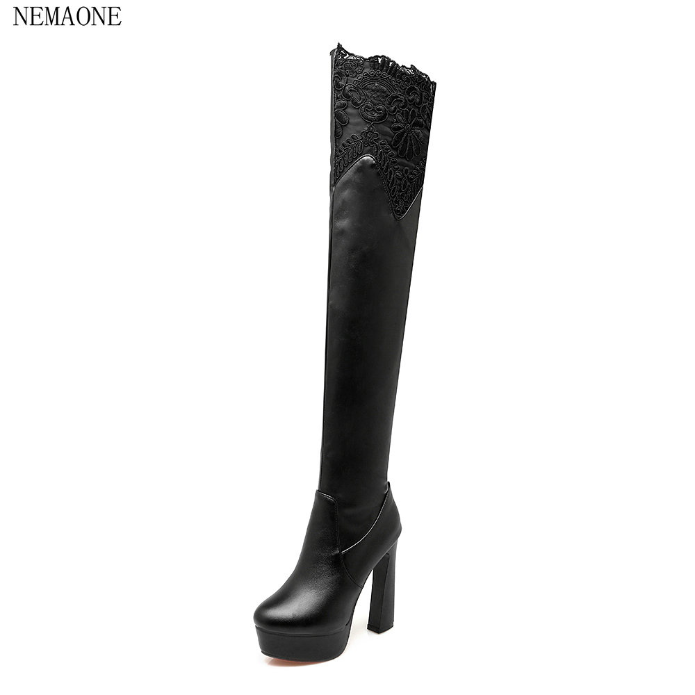 NEMAONE Plus Size Hot Spring Autumn Women Boots Sexy High Heel Over the knee Soft pu Leather Black White Fashion High Boots nemaone plus size hot spring autumn women boots sexy high heel over the knee soft pu leather black white fashion high boots