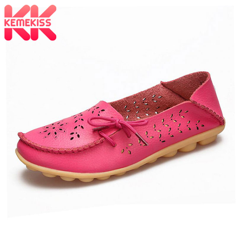 KemeKiss 20 Colors Real Leather Women Flats Shoes Fashion Daliy Leisure Shoes Women Office Lady Party Footwear Size 34-44